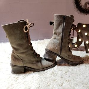 Jeffrey Campbell Military Combat Boots Tan Suede